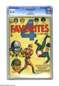 Golden Age (1938-1955):Superhero, Four Favorites #13 (Ace, 1944) CGC VF 8.0 Off-white pages. L.B. Cole. Overstreet 2005 VF 8.0 value = $. CGC census 10/05: 1 ...