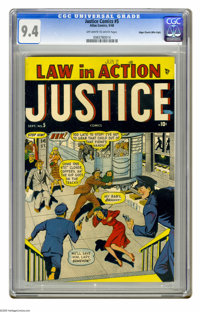 Justice Comics #5 Mile High pedigree (Atlas, 1948) CGC NM 9.4 Off-white to white pages. This is the only copy of this is...