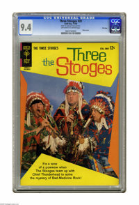 "Three Stooges #20 File Copy (Gold Key, 1964) CGC NM 9.4 Off-white to white pages. Photo cover. CGC notes: ""From the..."