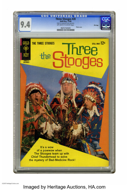 """Three Stooges #20 File Copy (Gold Key, 1964) CGC NM 9.4 Off-white to white pages. Photo cover. CGC notes: """"From the Random H..."""