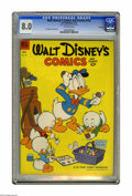Golden Age (1938-1955):Cartoon Character, Walt Disney's Comics and Stories #152 File Copy (Dell, 1953) CGC VF8.0 Off-white pages. Carl Barks cover and art. CGC notes...