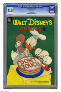 Golden Age (1938-1955):Cartoon Character, Walt Disney's Comics and Stories #153 File Copy (Dell, 1953) CGC VF+ 8.5 Off-white pages. Carl Barks cover and art. CGC note...