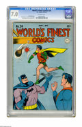 Golden Age (1938-1955):Superhero, World's Finest Comics #24 (DC, 1946) CGC FN/VF 7.0 Off-white pages. Jack Burnley cover. Art by Win Mortimer, John Daly, Ira ...