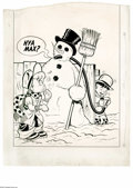 Original Comic Art:Covers, Al Avison (attributed) - Little Max Comics #21 Cover Original Art(Harvey, 1953). A snowman comes to life with a little help...