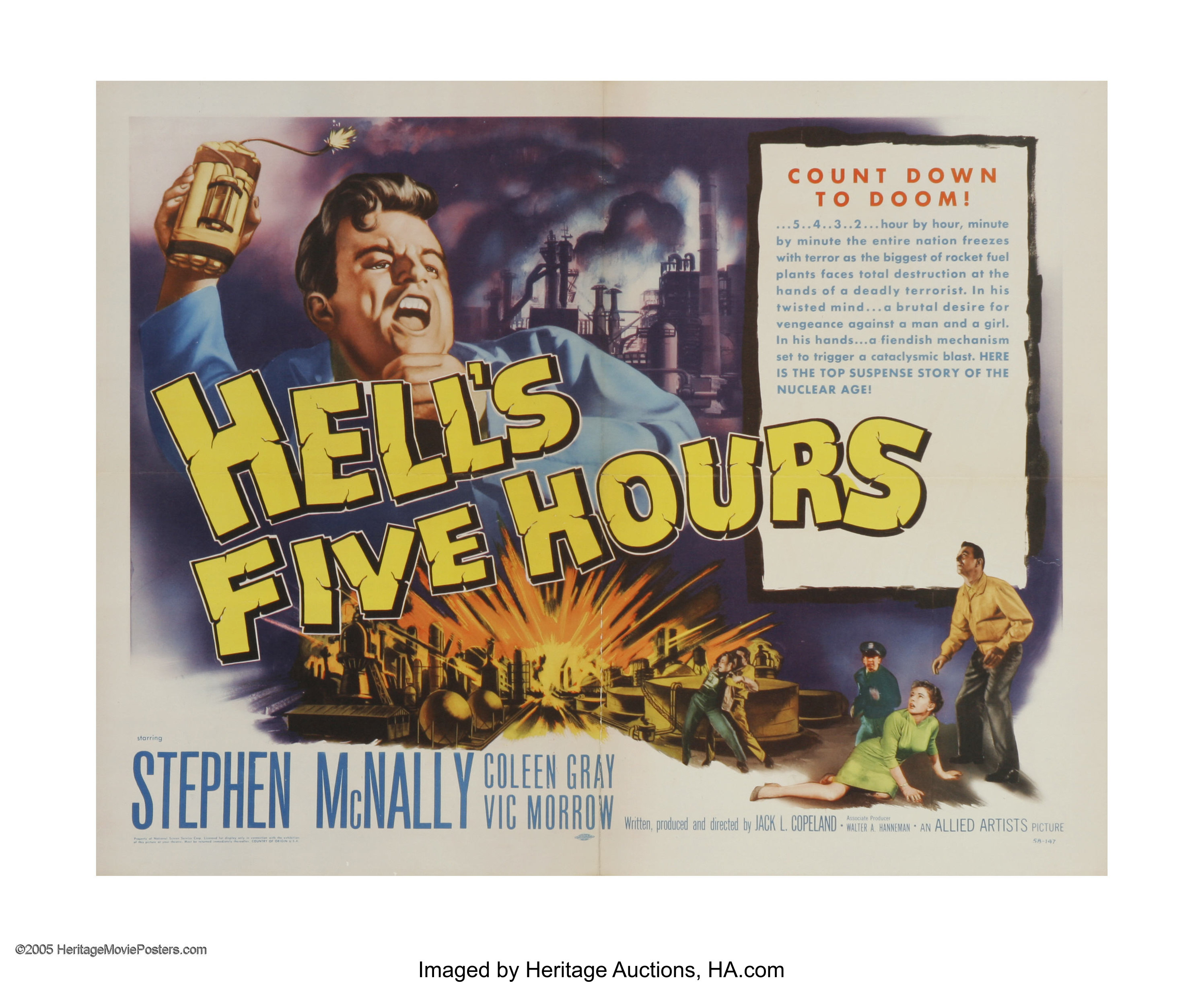 Hell's Five Hours (Allied Artists, 1958)  Half Sheet (22