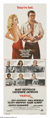 "Hustle (Paramount, 1975). Insert (14"" X 36""). Burt Reynolds stars as a police detective investigating the murd..."