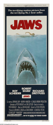 "Jaws (Universal, 1975). Insert (14"" X 36""). ""This shark, swallow you whole. No shakin', no tenderizin', d..."