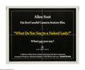 "Movie Posters:Comedy, What Do You Say to a Naked Lady? (United Artists, 1970). Half Sheet (22"" X 28""). Allen Funt was known for his television sho..."