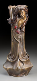 Decorative Arts, French, Art Nouveau Cold Painted Bronze Figural Vase. 20th century. IncisedTlorian. Ht. 17 in.. ...