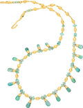 Estate Jewelry:Necklaces, Green Beryl, Gold Necklace . ...