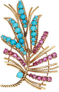 Estate Jewelry:Brooches - Pins, Turquoise, Ruby, Gold Brooch. ...