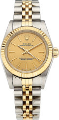 Estate Jewelry:Watches, Rolex Lady's Gold, Stainless Steel Oyster Perpetual Watch. ...