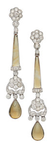 Estate Jewelry:Earrings, Diamond, Citrine, White Gold Earrings. ...