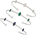 Estate Jewelry:Bracelets, Diamond, Emerald, Sapphire, White Gold Bracelets. ... (Total: 3 Items)