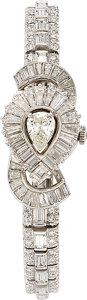 Estate Jewelry:Watches, Retro Mathey Tissot Lady's Diamond, Platinum Covered Dial Watch....