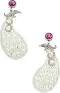 Estate Jewelry:Earrings, Pink Tourmaline, Diamond, Jadeite Jade, White Gold Earrings. ...