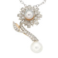 Estate Jewelry:Pendants and Lockets, South Sea Cultured Pearl, Diamond, Gold Pendant-Brooch-Necklace....