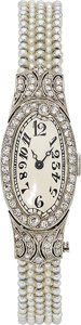 Estate Jewelry:Watches, Art Deco Swiss Lady's Diamond, Seed Pearl, Platinum Watch. ...