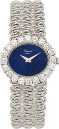 Estate Jewelry:Watches, Chopard Lady's Diamond, Lapis Lazuli, White Gold Watch. ...