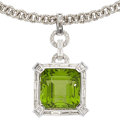Estate Jewelry:Pendants and Lockets, Peridot, Diamond, Gold Pendant-Necklace. ...