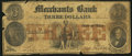 Obsoletes By State:Ohio, Massillon, OH- Merchants Bank Altered $3 Aug. 2, 1854. ...