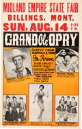 Music Memorabilia:Posters, Ernest Tubb Grand Ole Opry Midland Empire State Fair Concert Poster(1960). Rare....