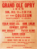 Music Memorabilia:Posters, Patsy Cline / Ferlin Husky Coliseum Concert Poster (1960). VeryRare....