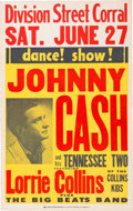 Music Memorabilia:Posters, Johnny Cash Division Street Corral Concert Poster (1959)....