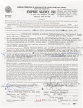 Music Memorabilia:Autographs and Signed Items, Stevie Ray Vaughan Signed Contract (1983). ...