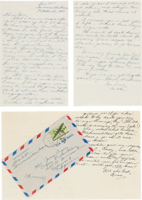 A James Cagney Pair of Letters Received from Audie Murphy, 1945