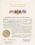 Music Memorabilia:Memorabilia, Elvis Presley Owned Honorary Certificate Presented To Him By Governor Of Alabama George C. Wallace. (1974)....