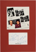 Music Memorabilia:Autographs and Signed Items, Paul McCartney - Postcard Signed by Paul McCartney, Linda McCartneyand George Martin (Circa 1982)....