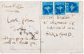 Music Memorabilia:Autographs and Signed Items, Beatles - John Lennon Post Card to Peter Brown From India (CircaFebruary-April, 1968)....