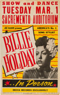 Music Memorabilia:Posters, Billie Holiday Sacramento Auditorium Concert Poster (Joe Glaser Presents, 1949). Extremely Rare....