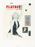 Movie/TV Memorabilia:Autographs and Signed Items, A Marilyn Monroe Playboy Magazine-Related Limited Edition Serigraph Initialed by Hugh Hefner, 1991....