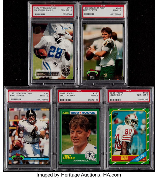 1980s 1990s Football Hall Of Famers Graded Rookie Card