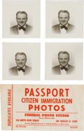 Movie/TV Memorabilia:Photos, A James Cagney Group of Black and White Passport Photographs,1952....