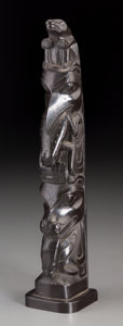 American Indian Art:Wood Sculpture, A Haida Model Totem Pole...
