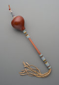 American Indian Art:Beadwork and Quillwork, A Comanche Beaded Gourd Rattle...