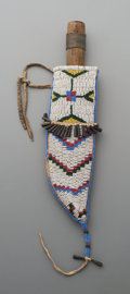 American Indian Art:Beadwork and Quillwork, A Sioux Beaded Hide Knife Sheath and Knife ... (Total: 2 Items)