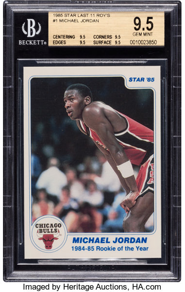 1985 Star Co Rookie Of The Year Michael Jordan 1 Bgs Gem