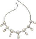 Estate Jewelry:Necklaces, Diamond, Cultured Pearl, Platinum Necklace . ...