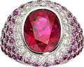 Estate Jewelry:Rings, Rubellite Tourmaline, Pink Sapphire, Diamond, White Gold Ring . ...