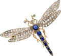 Estate Jewelry:Brooches - Pins, Antique Diamond, Sapphire, Silver Topped Gold Brooch. ...
