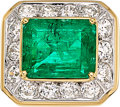 Estate Jewelry:Rings, Emerald, Diamond, White Gold, Gold Ring  The r...