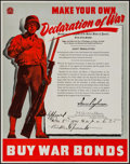 "Movie Posters:War, World War II Propaganda (U.S. Government Printing Office, 1942).Poster (22"" X 28""). ""Make Your Own Declaration of War."" War..."