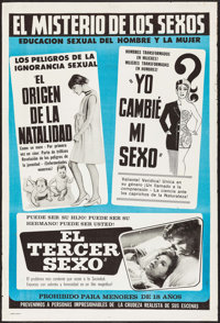"""Glen or Glenda (I Led Two Lives)/Mon & Dad/Third Sex Triple Feature (c. R-1960s). Argentinean Poster (29"""" X..."""