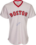 Baseball Collectibles:Uniforms, 1976 Fred Lynn Signed Game Worn Boston Red Sox Jersey....