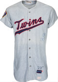 Baseball Collectibles:Uniforms, 1969 Jim Perry Signed Game Worn Minnesota Twins Jersey....