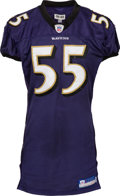 Football Collectibles:Uniforms, 2006 Terrell Suggs Game Worn & Signed Baltimore Ravens Jersey - Photo Matched to 11/19 vs. Falcons, NFL Auction COA....